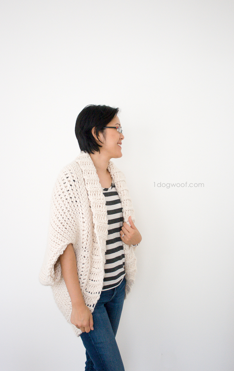Simple Starlight Shrug - free crochet pattern using Tunisian Knit Stitch