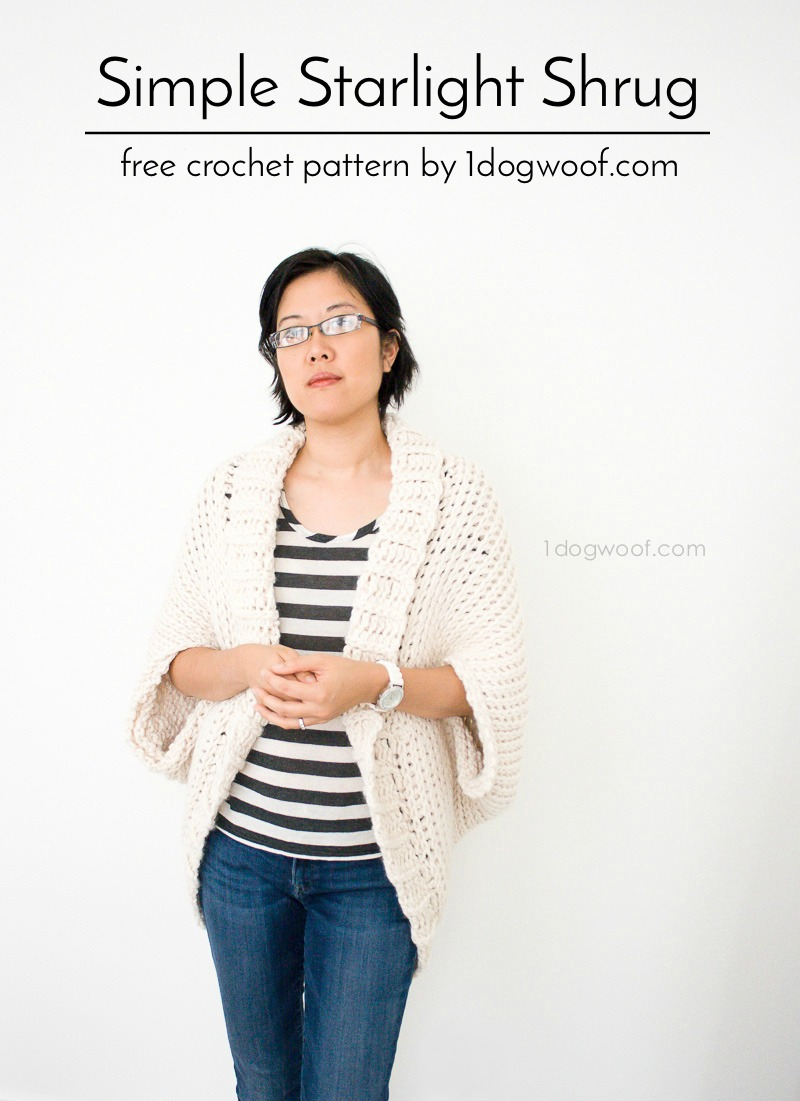 Free crochet pattern for a beautiful and simple Starlight Shrug, using Tunisian crochet knit stitch!