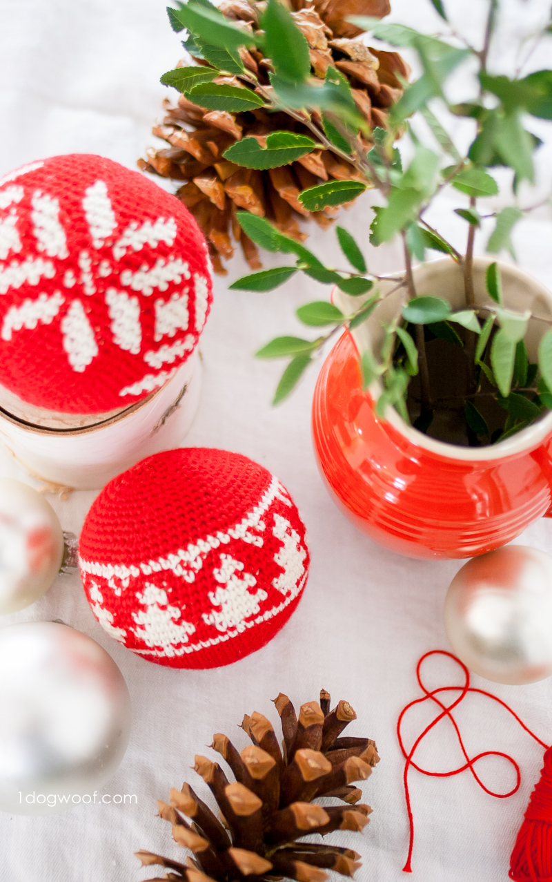 Fair Isle Christmas tree ornaments