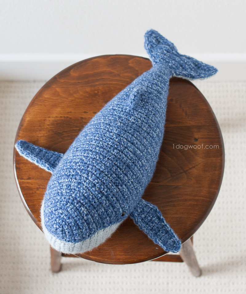 top view of crocheted whale looks like a torpedo