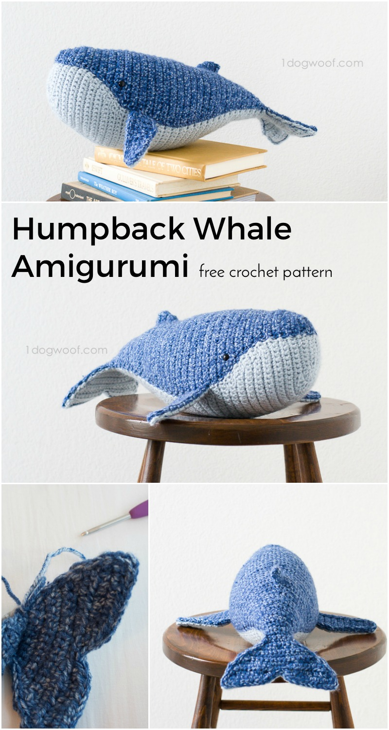 4 image pin collage of crochet whale