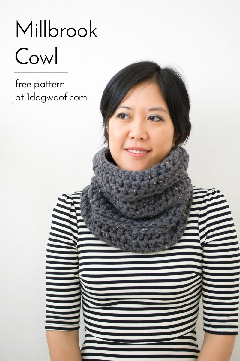 Millbrook Cowl, part of a crochet winter set, free pattern at 1dogwoof.com