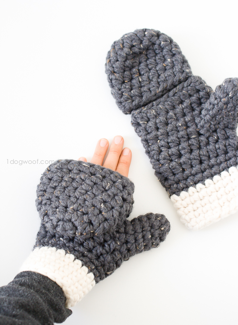 Free Crochet Pattern For Chunky Mittens : Millbrook Chunky Mittens - One Dog Woof