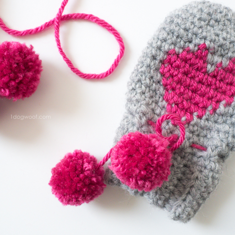 Knit Pattern Heart Mittens : Baby Heart Mittens Valentines Day Project - One Dog Woof