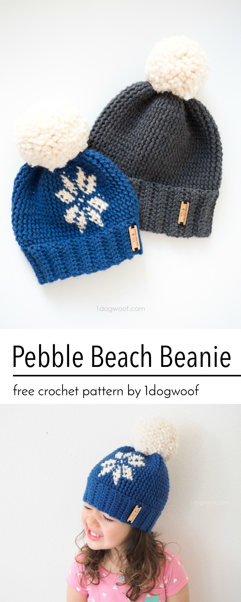Pebble Beach Beanie Crochet Pattern - One Dog Woof