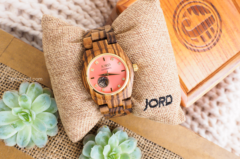 JORD wood watch in Zebrawood and Rosé
