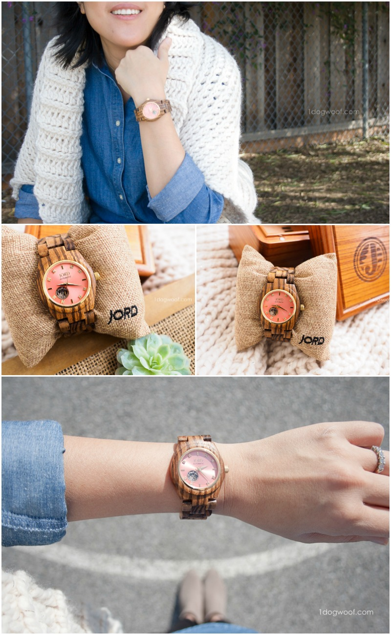 See my review of JORD's unique women's wood watch, shown here in Zebrawood and Rosé
