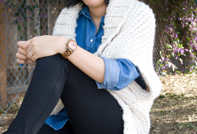 Buttercream Sweater with JORD wood watch