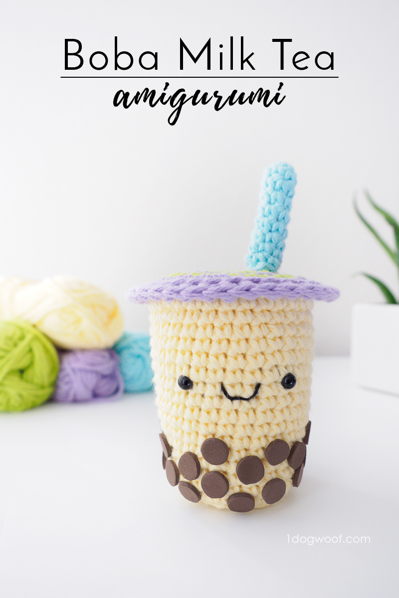 Boba Milk Tea amigurumi, free crochet pattern | www.1dogwoof.com