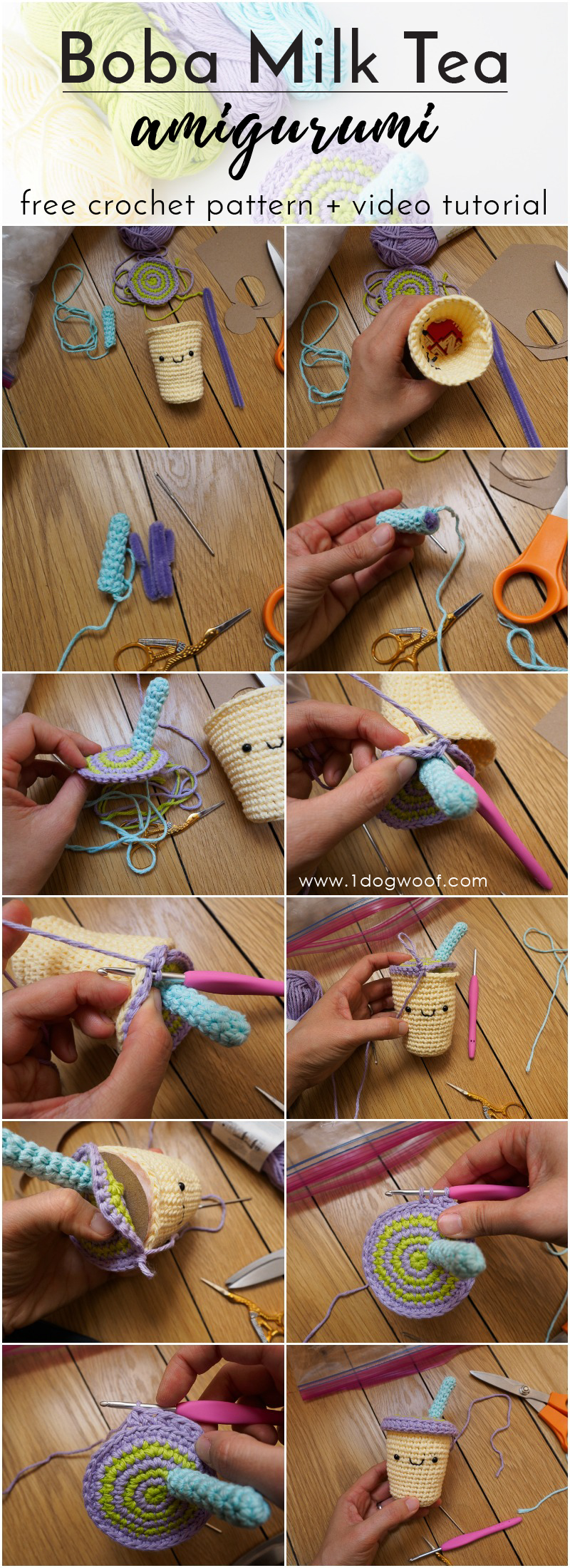 FREE crochet pattern + video tutorial for a sweet boba milk tea amigurumi! | 1dogwoof.com