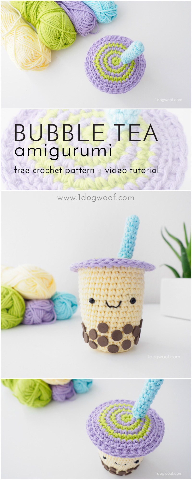FREE crochet pattern for an adorable boba milk tea amigurumi - enjoy a sweet, sugar-free snack!