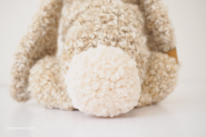 pom pom bunny tail made with Lion Brand Wool Ease Thick and Quick