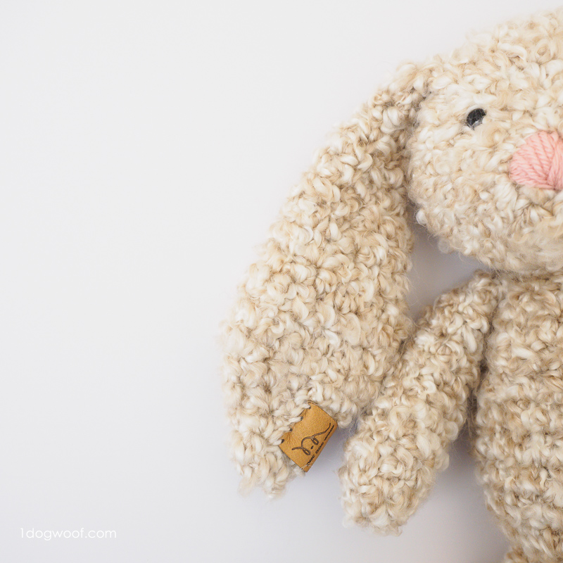 Personalize your crochet bunny with a custom tag