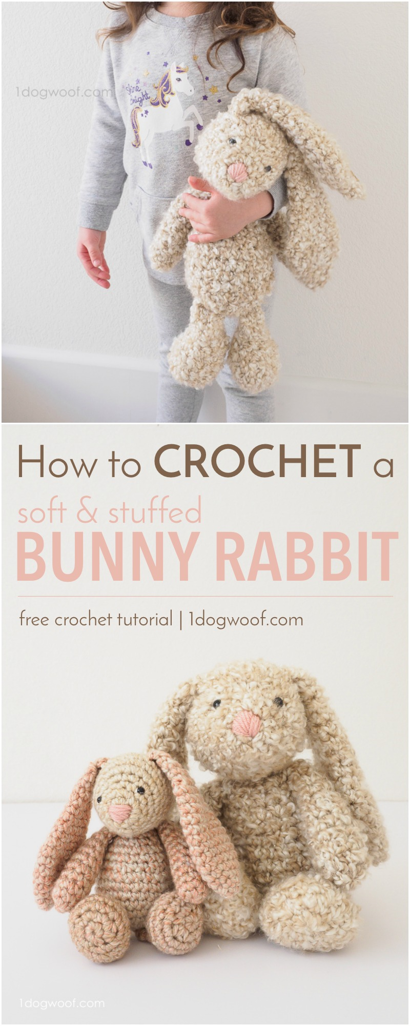 How to crochet a soft, squishy, floppy ear, stuffed bunny rabbit using Lion Brand Homespun yarn. Perfect for Easter or a DIY baby shower gift!