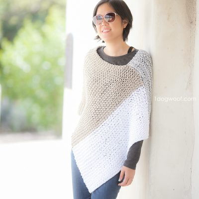 Easy Knit Catalunya Colorblock Poncho