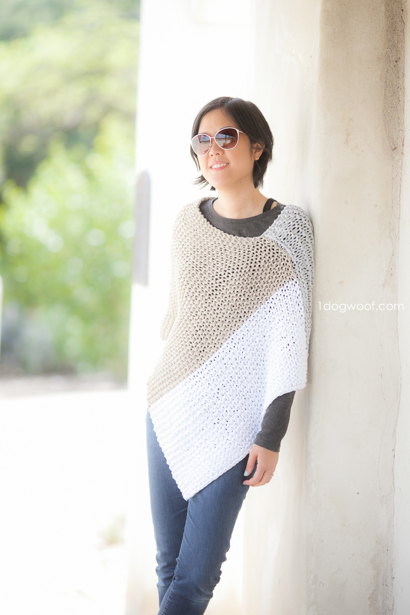 Easy Knit Catalunya Colorblock Poncho - One Dog Woof