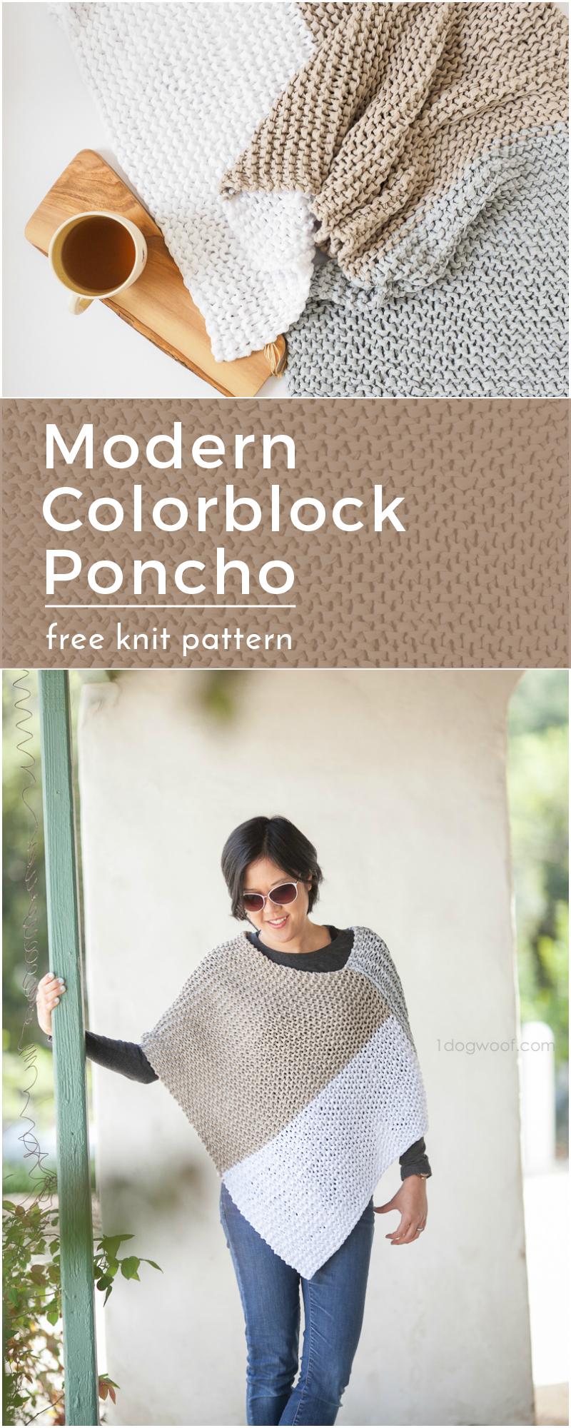 Easy Knit Catalunya Colorblock Poncho: free knitting pattern from 1dogwoof.com. A modern colorblock wrap or poncho using a simple knit garter stitch!
