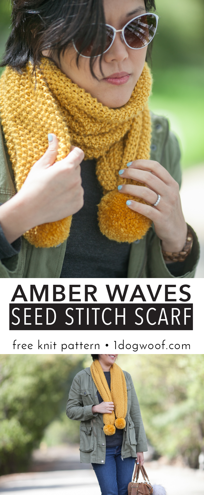 This free pattern for a simple seed stitch knit scarf is a great start project for a beginner knitter! Amber Waves Seed Stitch Scarf, www.1dogwoof.com