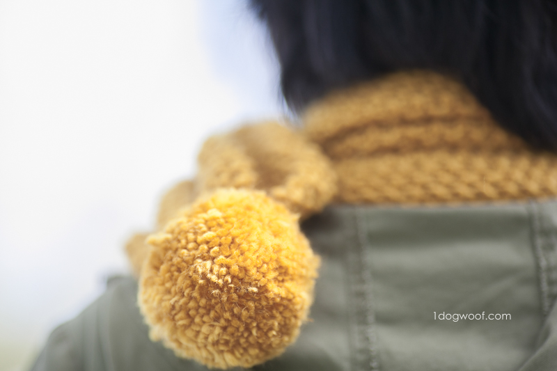 Amber Waves pom-pom scarf, free knitting pattern for beginners