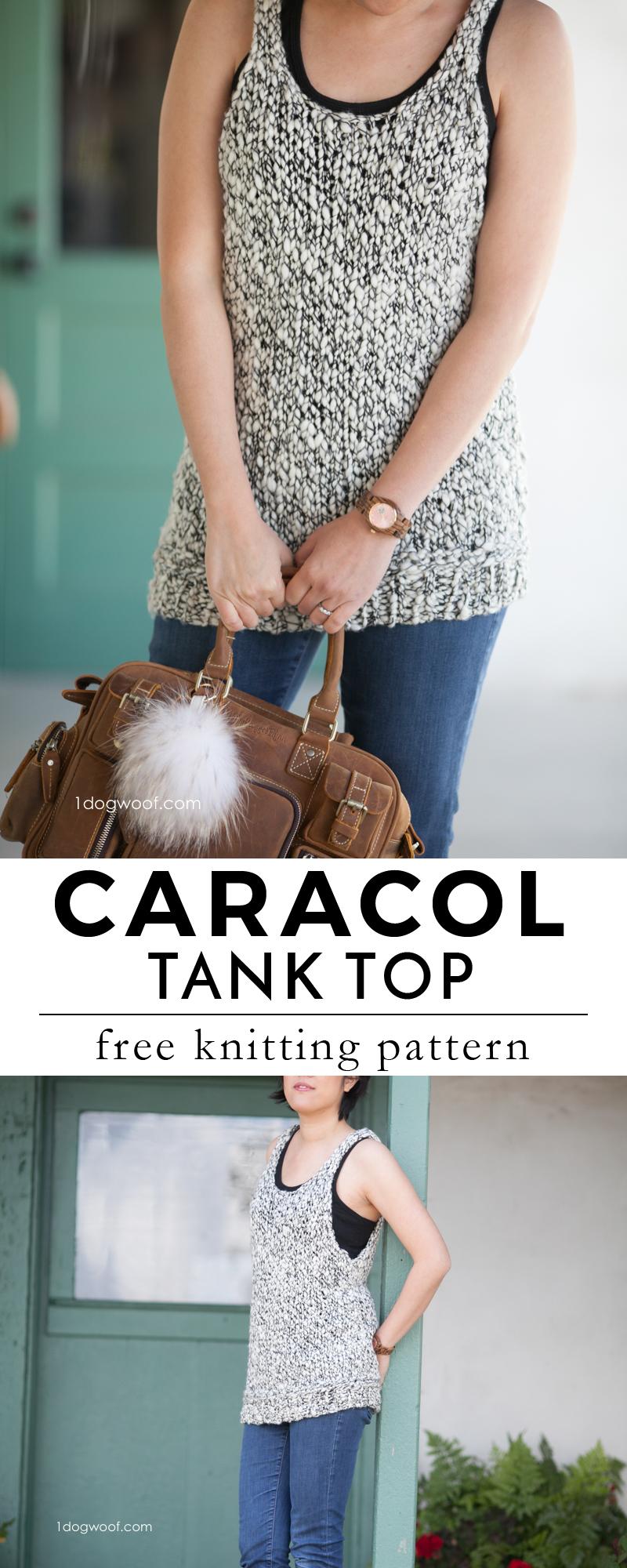 Caracol Tank Top Knitting Pattern by www.1dogwoof.com