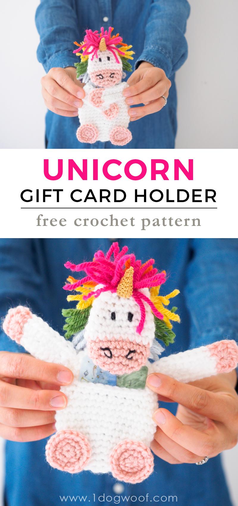 Crochet unicorn gift card holder - to make any gift spectacular! Free crochet pattern at www.1dogwoof.com