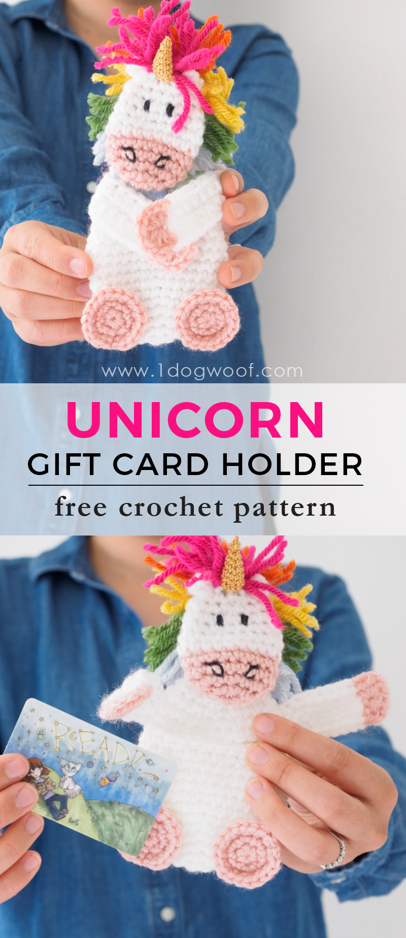 Crochet unicorn gift card holder one dog woof make your gift extra special with an adorable crochet unicorn gift card holder free crochet reheart Choice Image