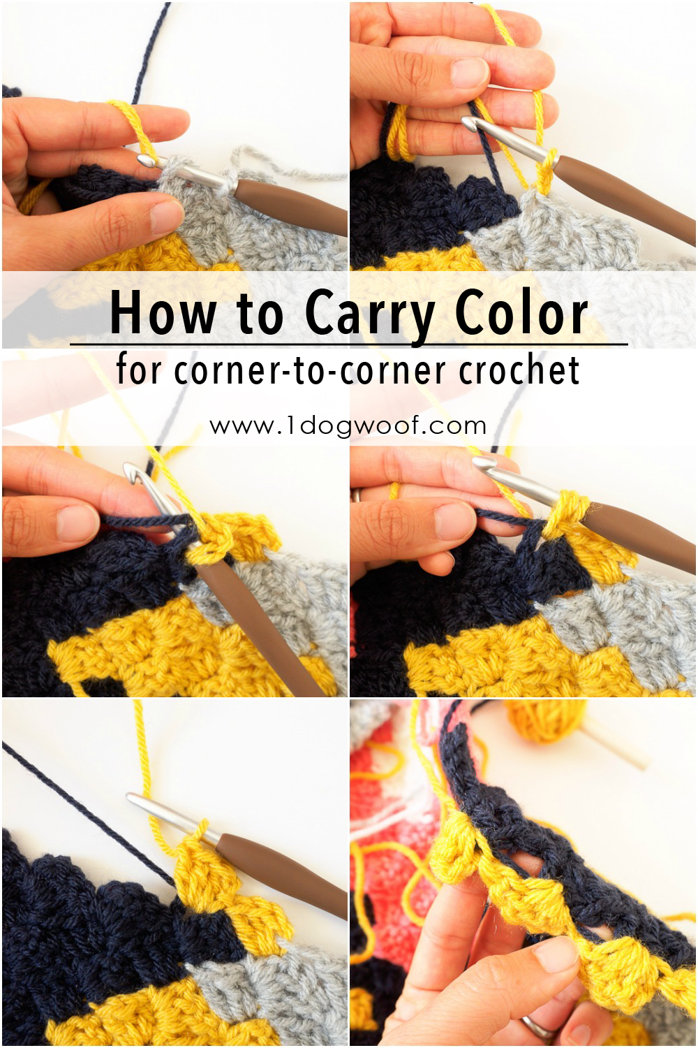 How to carry a color up to where you need it in c2c crochet