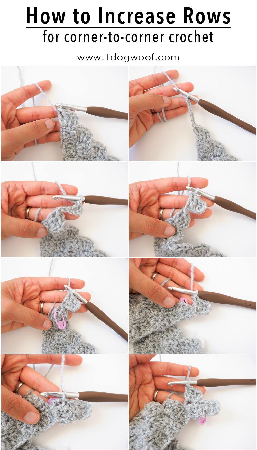 How to Increase Rows in corner to corner crochet
