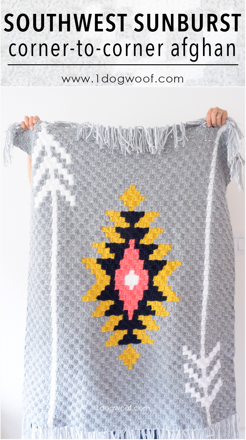 Free graph and instructions for a Southwest Sunburst c2c crochet afghan, at 1dogwoof.com