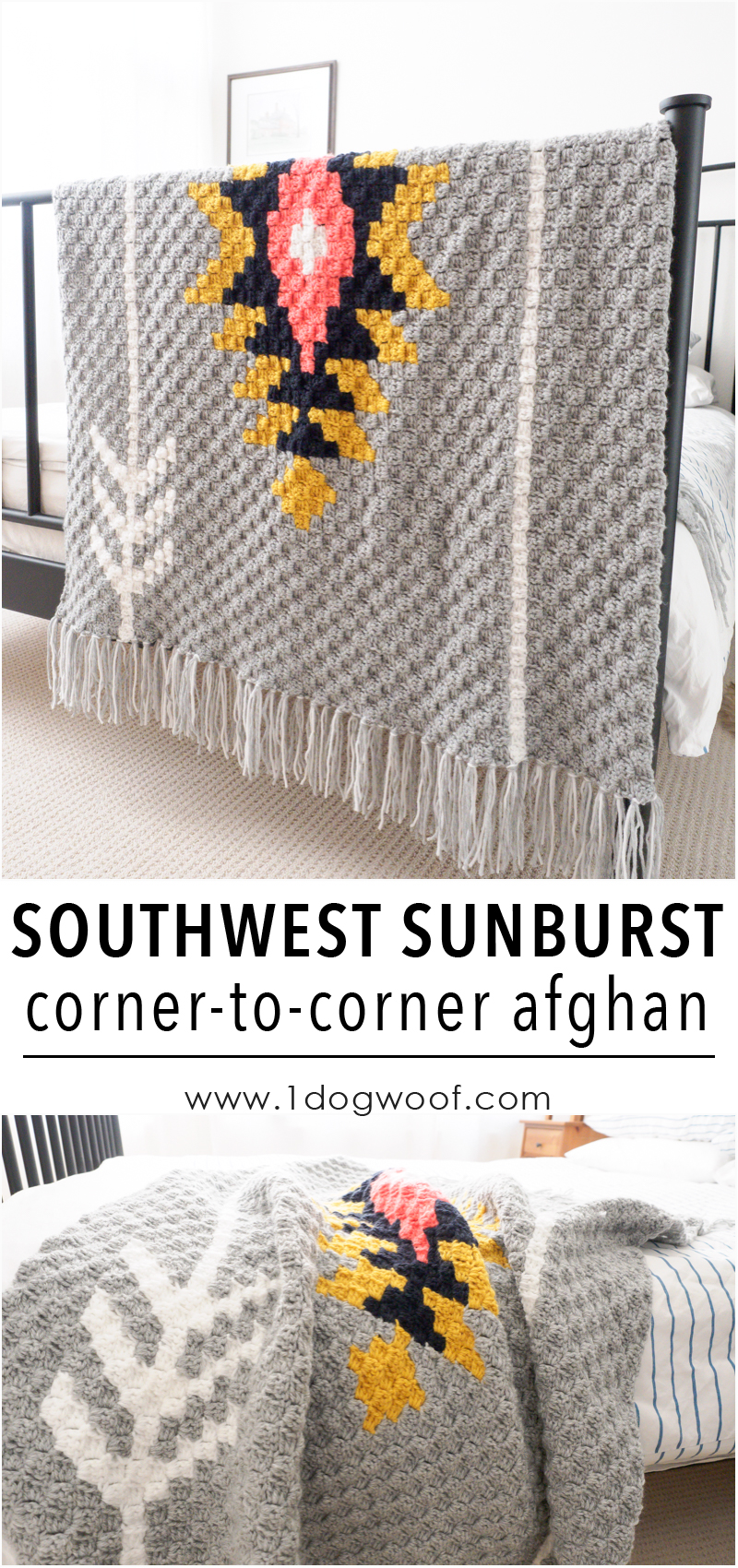 Southwest Sunburst c2c crochet afghan, using Lion Brand Vanna's Choice yarn. Free graph and instructions included! www.1dogwoof.com
