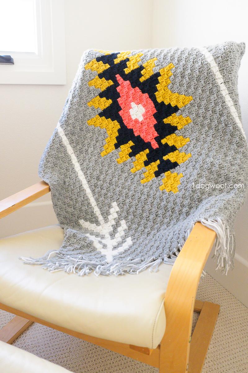 Southwest Sunburst C2C Crochet Afghan