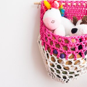 T-shirt yarn hanging basket.