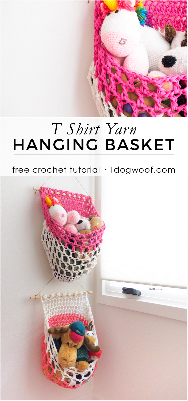 Make a loose mesh fabric yarn or t-shirt yarn hanging basket with this free crochet pattern from 1dogwoof.com