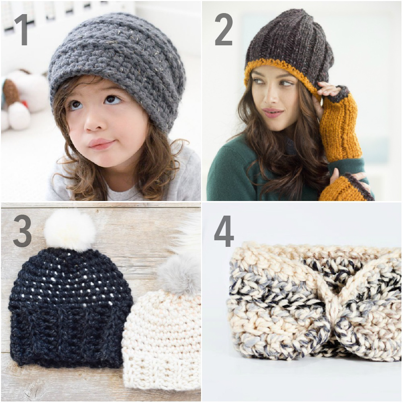 Chunky Crochet Hats and Ear Warmers using Wool-Ease Thick and Quick