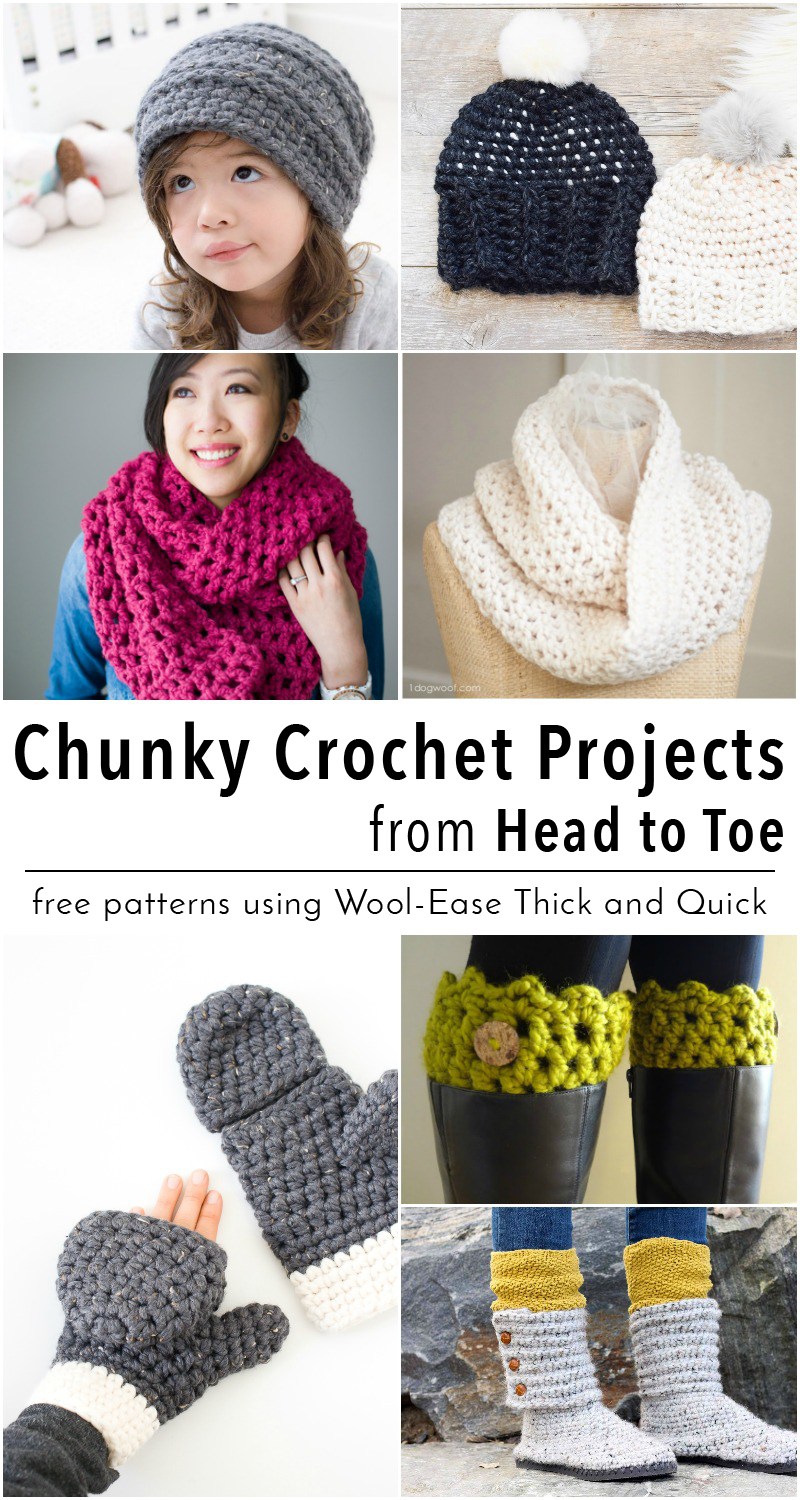 15 Free Chunky Crochet Patterns from Head to Toe - Using Lion Brand ...