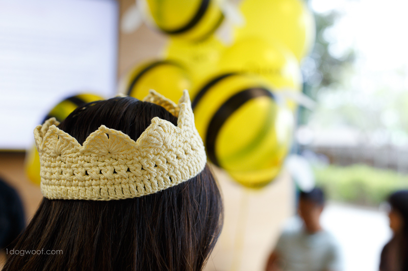 Queen bee crochet crown, perfect for a bee-themed party.