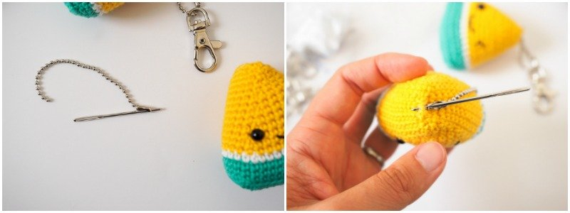 Adding the ball chain to a watermelon amigurumi to make a keychain.