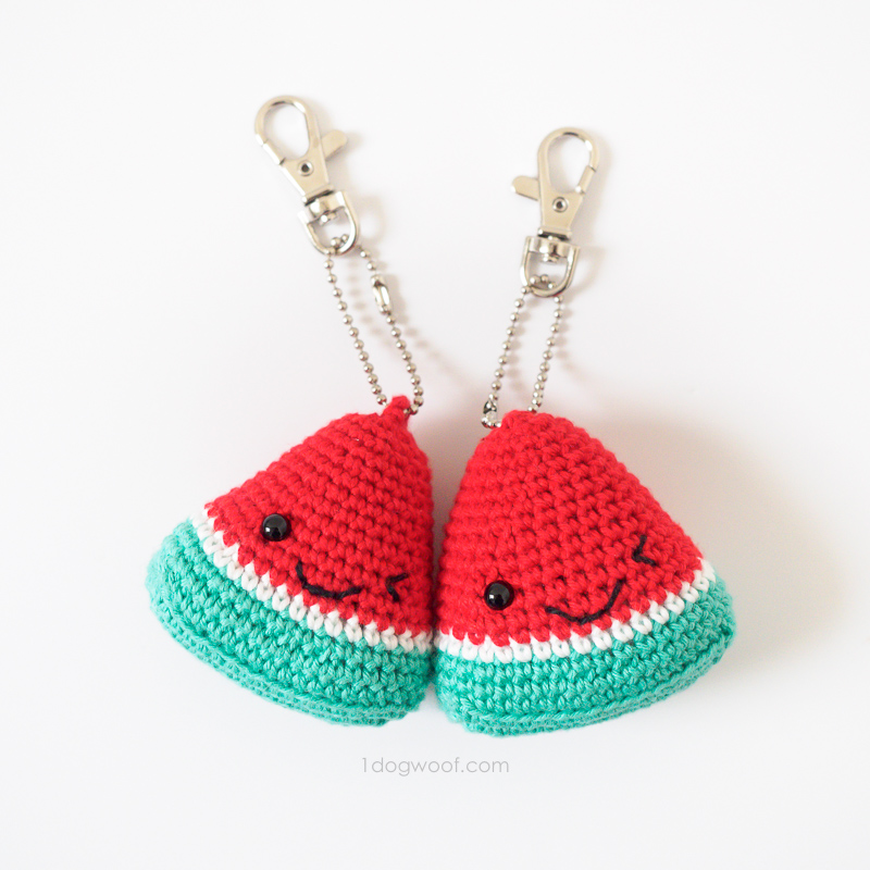 Red watermelon amigurumi keychains