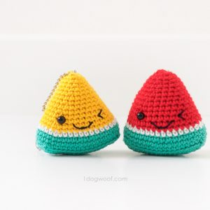 yellow and red watermelon keychains