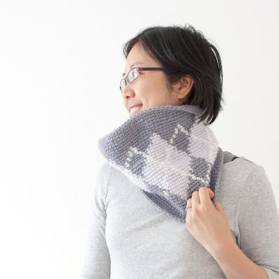 Silverstone Argyle Cowl Using Tapestry Crochet