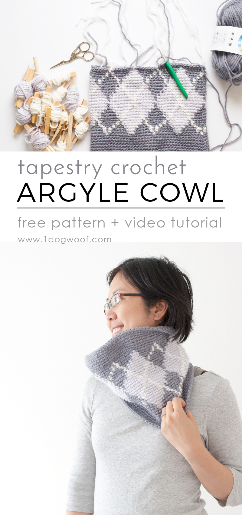 Silverstone Argyle Cowl - free tapestry crochet + video tutorial | www.1dogwoof.com