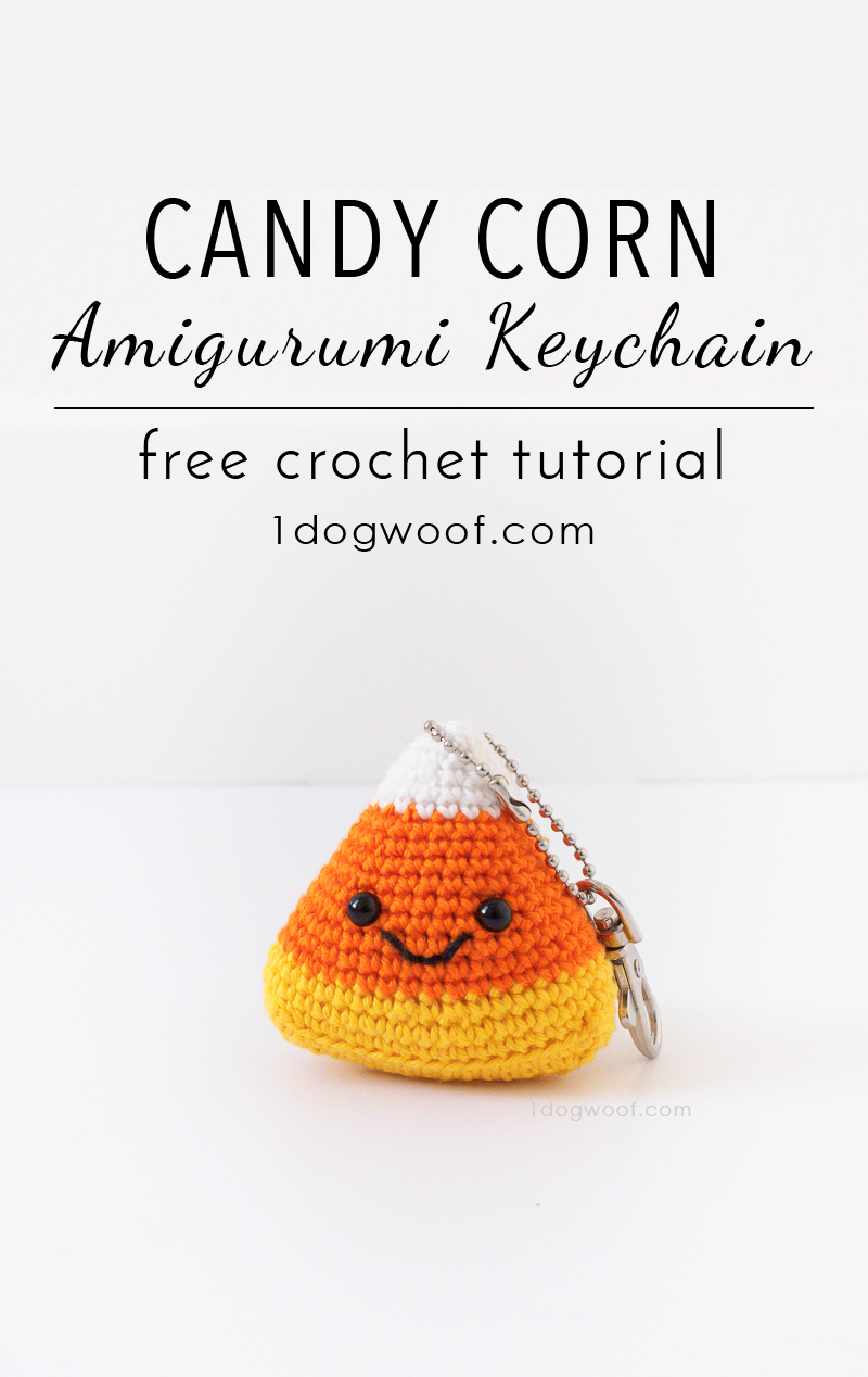 Get festive for fall with a cute candy corn amigurumi keychain! Free crochet pattern at 1dogwoof.com