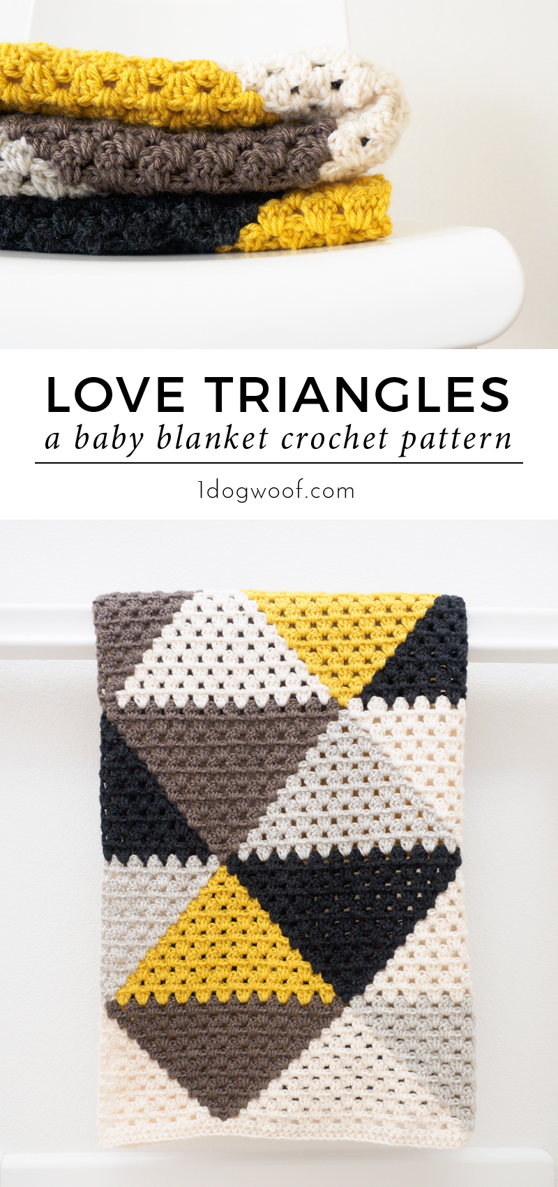 Love Triangles Granny Stripe Baby Blanket One Dog Woof