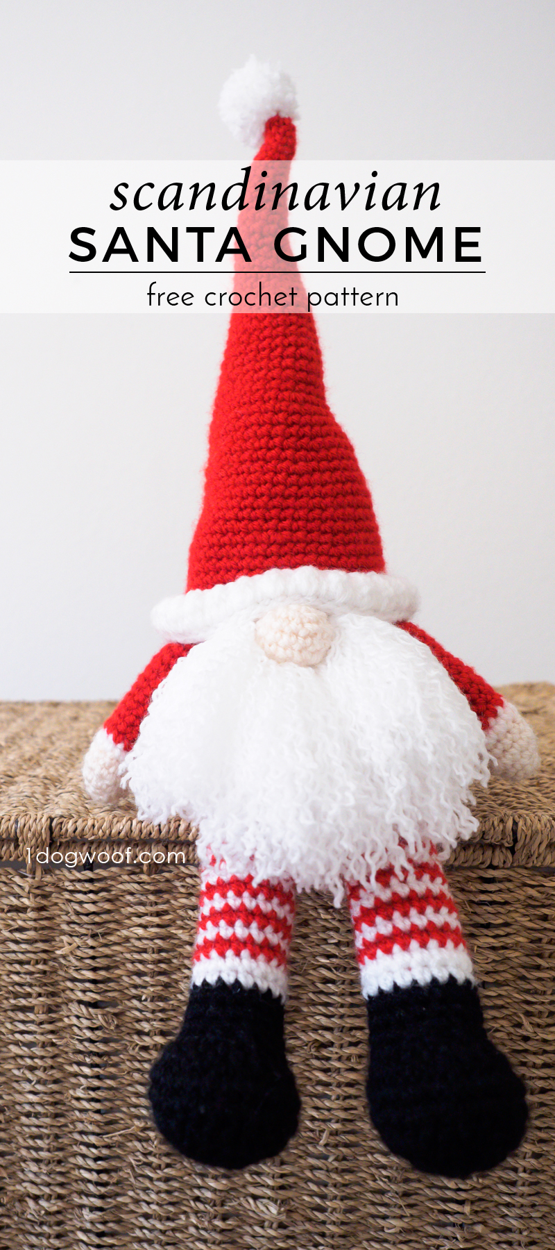 Scandinavian Santa Gnome free crochet pattern. Makes a perfect handmade gift for Christmas! | www.1dogwoof.com