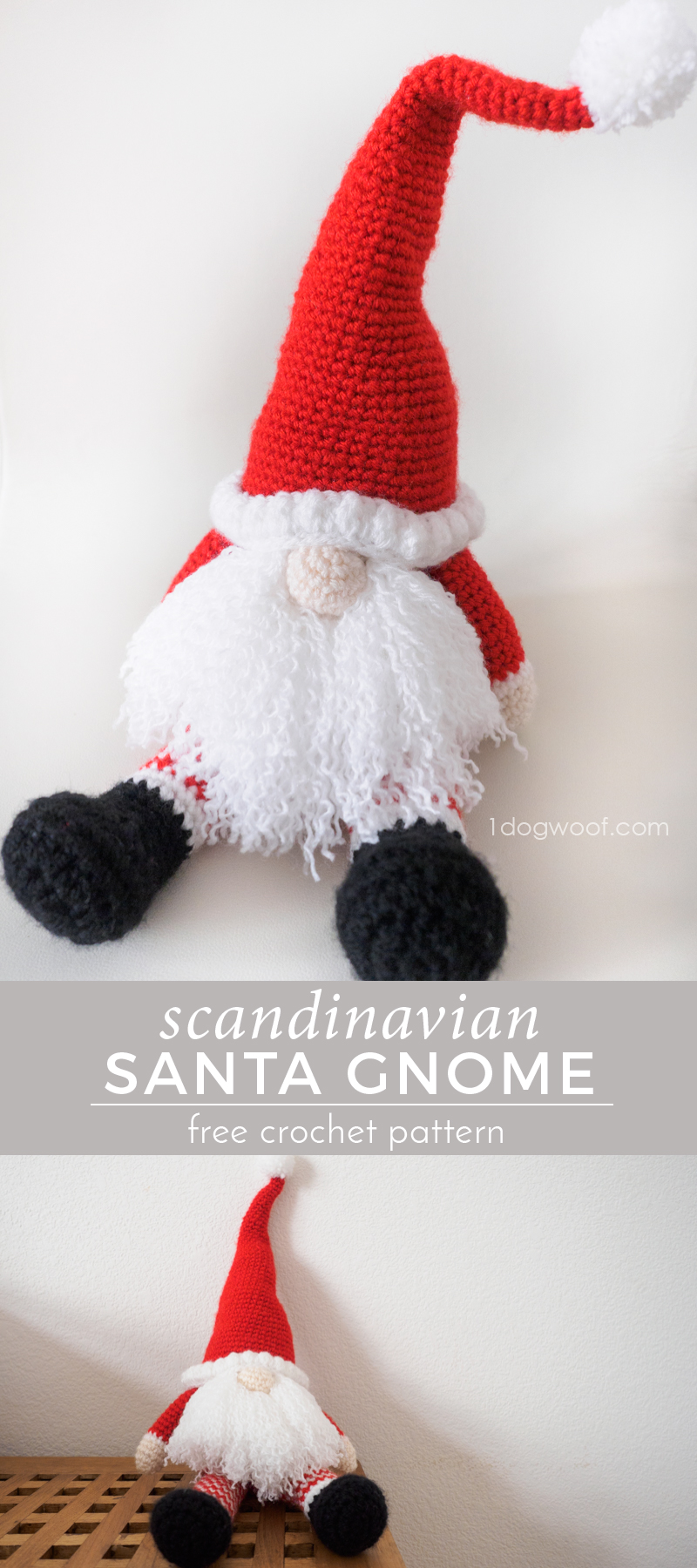 Christmas Gnomes Pattern.Scandinavian Santa Gnome Amigurumi One Dog Woof