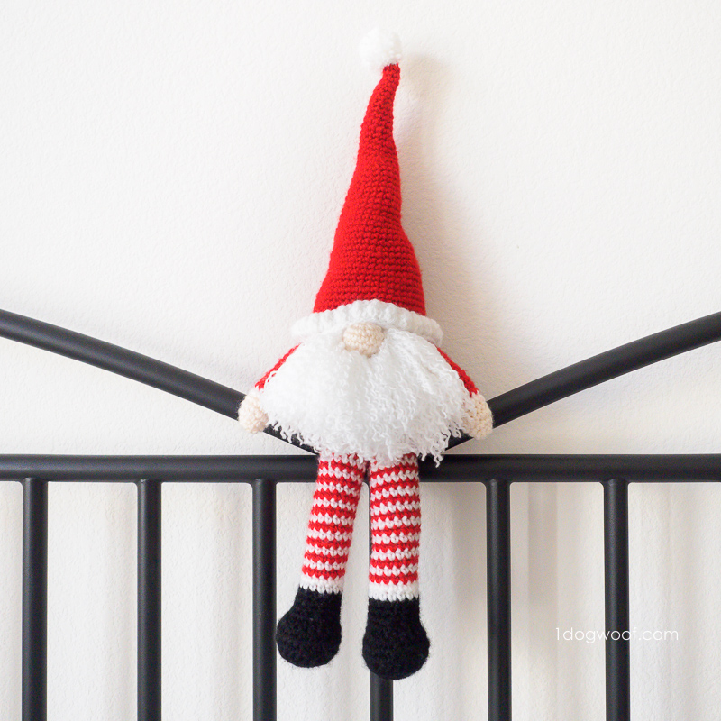 Scandinavian Santa Gnome striped elf legs