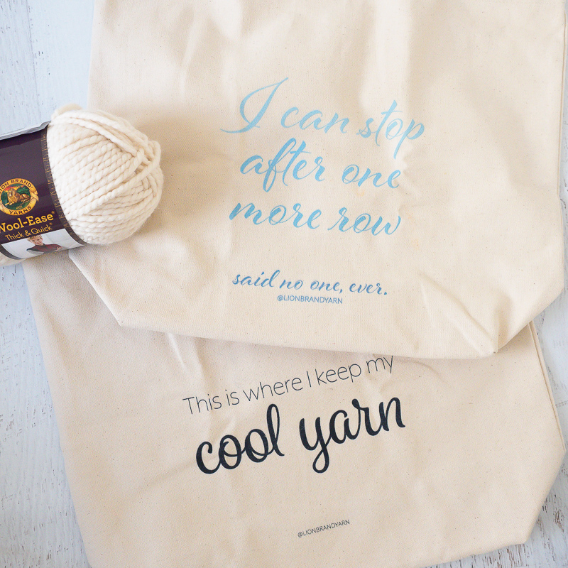 keep yarn organized in jumbo canvas totes