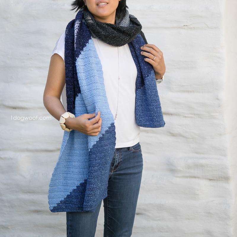 Tangram-inspired crochet scarf wrap.