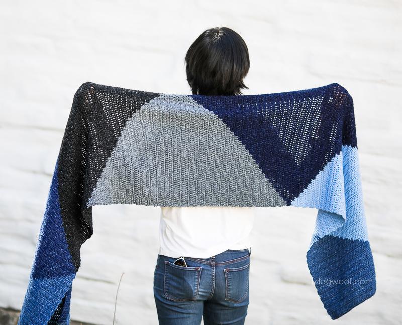 Triangles make for a fun modern crochet scarf wrap.