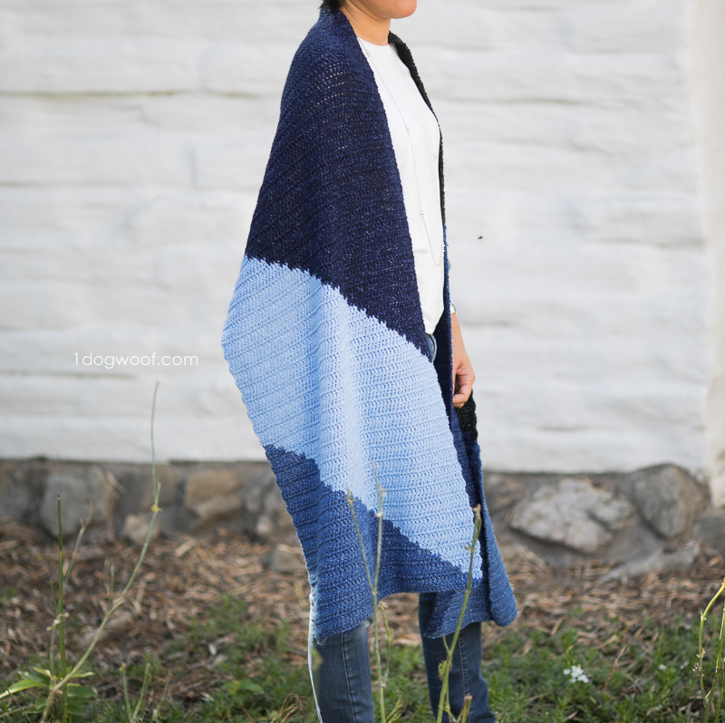 Crochet scarf wrap inspired by geometric tangrams.